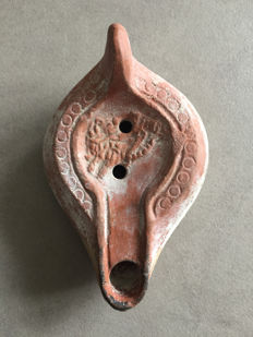 Roman oil lamp: Sea Lion overlapped by a lover - 13.5 x 8.5 cm