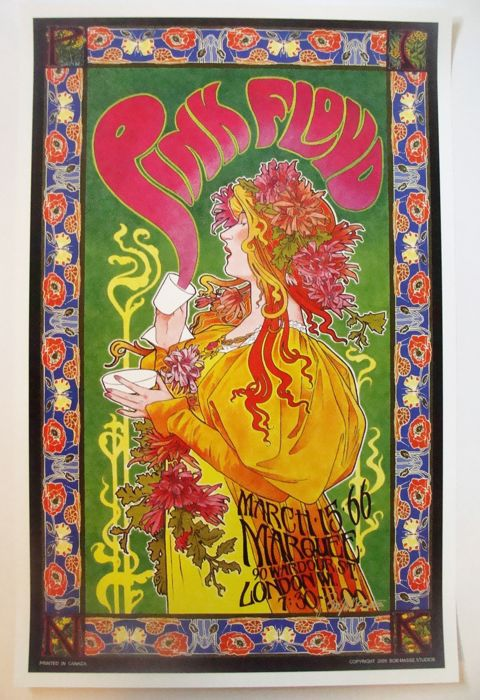 Pink Floyd Marquee Club Poster Mad Hatter's Tea Party London 1966