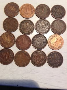 The Netherlands - ½, 1 and 2½ cent 1883/1929 including 2½ 1894, ½ cent 1883 and cent 1897 - 16 pieces - bronze