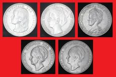 Netherlands - 1 guilder 1892, 1907, 1913, 1931 and 1943D Wilhemina (5 different types) - silver