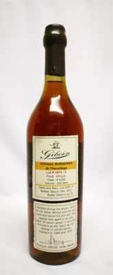 1974 Giboin Cognac Borderies de L'Hermitage lot 1974-5 43% abv. Cask A320 total volume of only 332 liters