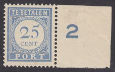The Netherlands 1916 - Postage due stamp - NVPH P59, with inspection certificate
