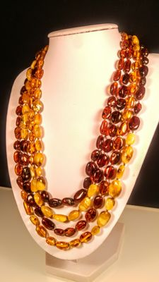 Extra long 220 cm Vintage 100% Genuine Baltic Amber necklace, 49 grams