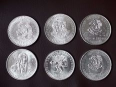 Mexico - 5, 10, 25 and 100 Pesos 1949/1977 (6 coins) - silver