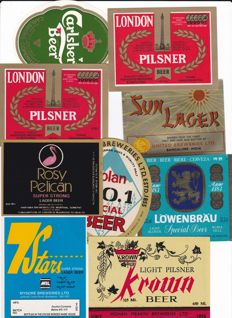 Collection of 90+ old to very old Asian beer labels
