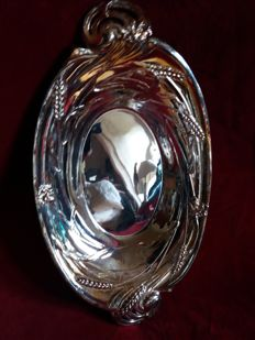 Silver plated nut bowl with nutcracker