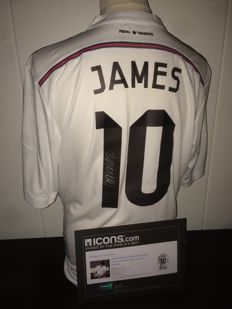James Rodriguez Signed Real Madrid 14/15 Shirt in Deluxe Packaging + COA and Photoproof ICONS.