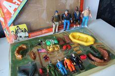 The A-Team - 4 dolls and Combat Headquarters set - Cannel and Galoob - ca 1983