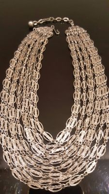 Vintage signed CORO silver toned necklace