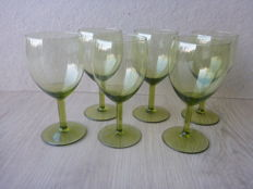 A.D. Copier for Leerdam - 6 x hock glasses in moss green of the Gilde tableware with smooth stem