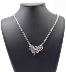 925 Italian sterling silver chain with Butterfly Pendant - 60 cm