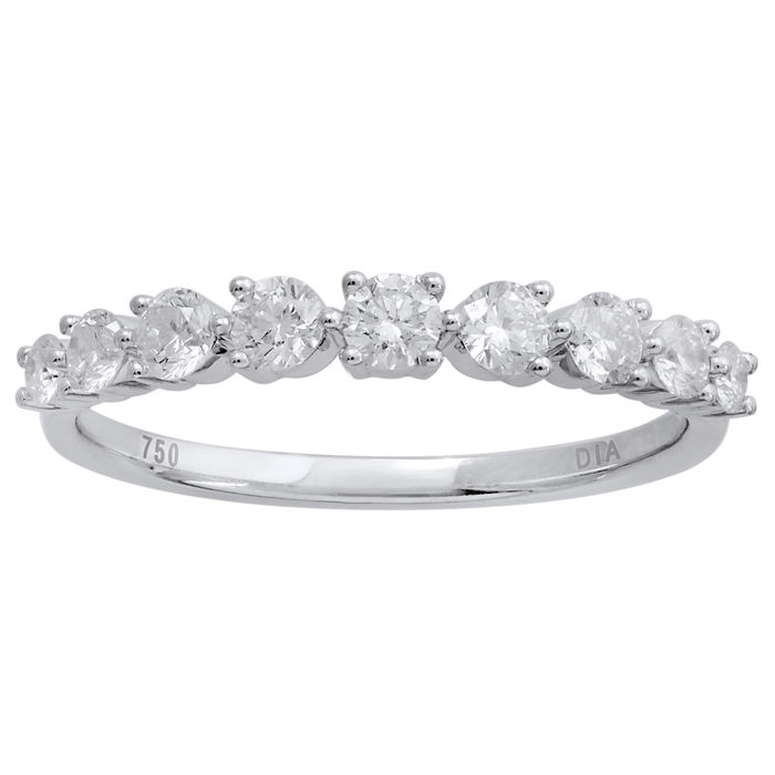 18Kt. white gold Modern Eternity ring set with ROUND BRILLIANT diamonds 0.51ct.,GH colour and VS1 clarity, Size 54/N