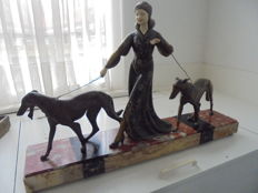 R. Scali - Woman with 2 borzoi dogs - Art Deco zamak and ivorine sculpture