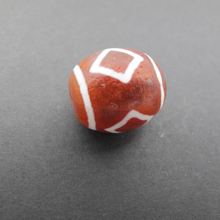 Red agate bead painted in Nepal 18.4 x 15.7 mm