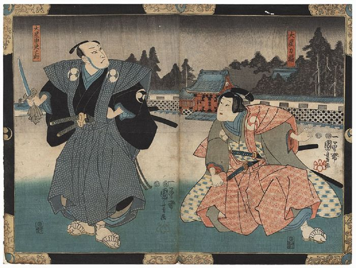 Original diptych woodcut by Utagawa Kuniyoshi (1797–1861) - 'Oboshi Uranosuke and Oboshi Rikiya' from the 'Chushingura' - Japan - 1849