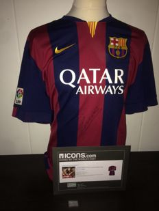 Andres Iniesta Signed FC Barcelona Treble Shirt + COA and Photoproof ICONS.