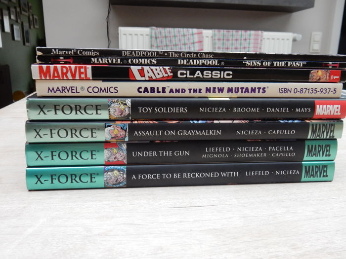Collection Of x4 Marvel Hardcovers + x4 Marvel Trade Paperbacks - Featuring X-Force / Cable / Deadpool