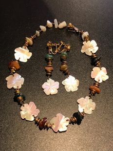 Vintage very rare Signed Miriam Haskell necklace and earrings 1940's