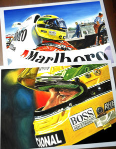 The Ayrton Senna Legend - McLaren Honda F1 Cockpit Helmet Race Car Formula 1 - Art Prints Posters - Hand signed by Artist Andrea Del Pesco + COA.