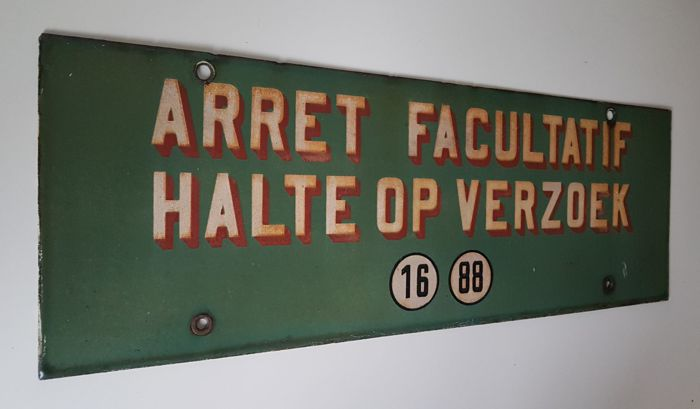 Enamel tram stop sign - in good condition