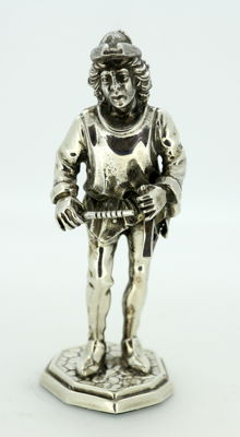 Antique Spanish Silver Town Crier Figurine, Spain Circa.1935