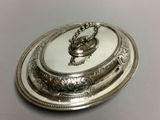 A Silver plated double serving tray with removable knob, beautiful floral decor, England, ca. 1900