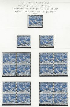 Belgium 1945 - Sample Postage stamps Type Mercury - STES Q 0301 and 0302 with overprint 'Waterlow & Sons Ltd with Specimen stamps and perforation'.