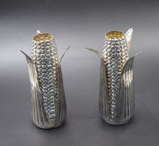 A pair of corn form vases, International Hallmarked  900