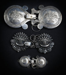 3 Pairs of cape buttons Silver 18th century