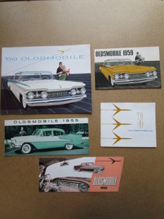 OLDSMOBILE - Lot de 5 brochures originales pour série 98 et super 88 de 1955 à 1959