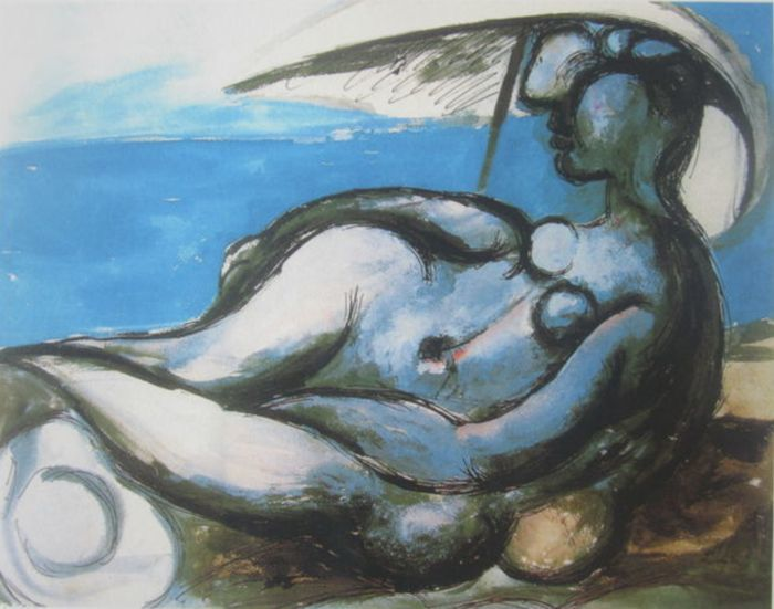 Pablo Picasso (after) - Reclining Nude at Beach