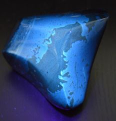 Polished fluorescent blue amber from Sumatra - 84 x 69.2 x 59.6 mm - 167 g