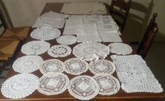 Lot of 29 hand embroidered tablecloths / napkins. Europe