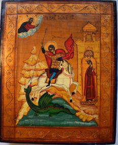 "The russian orthodox icon ""The Saint George"", hand painted, tempera, wood, XX th century."