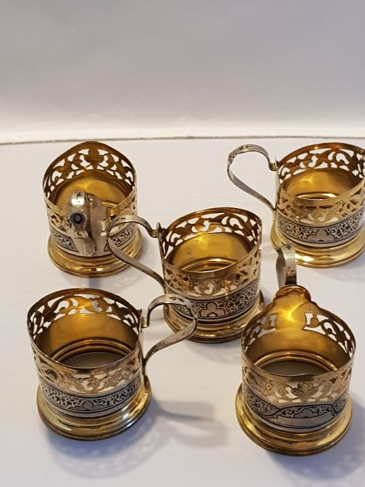 Five silver tea cup holders, niello and gilded, Russia, ca. 1958