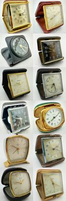 Lot of 12 antique travel clocks from early 19th to early 20th century