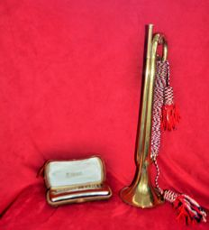 Beautiful M Hohner double key harmonica with its original case + Couesnon France trumpet