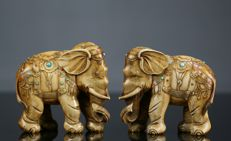 Pair of ivory elephants, China 1930