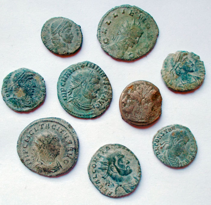 Roman -  Lot 9 pieces. Ae. Ar