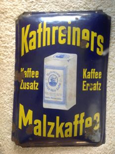Original old enamel advertising sign Kathreiners Malzkaffee - ca. 1920