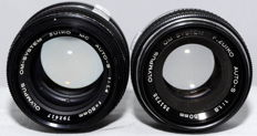 2 Olympus lenses 50 mm f 1.4 and f 1.8