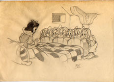 Vives Mateu, Xavier - Original inspirational Sketch - Snow White wakes up at the Seven Dwarfs House
