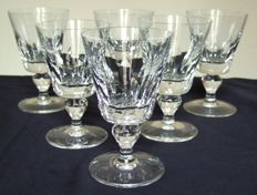 St Saint Louis 6 water glasses in embossed crystal, Jersey model, France - circa 1960 - 14.6 cm