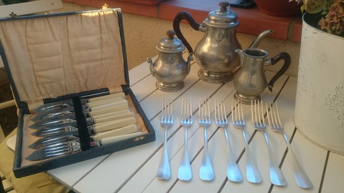 "Assorted Lot of Silver Plated Forks (845 / Christofle), Cased Chrome Plate Fish Forks with Knives and Vintage Pewter ""Etain Fin"" Tea Coffee Set"