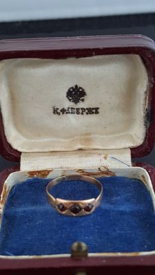 Fabergé antique golden ring, the favorite jeweler to the Romanov family