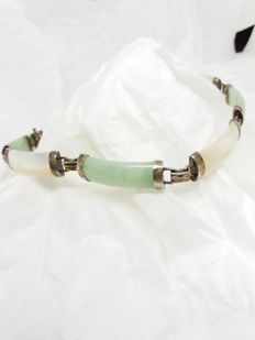Vintage natural Chinese Mother of Pearl and Apple Jadeite sterling silver bracelet. Chinese symbol on clasp