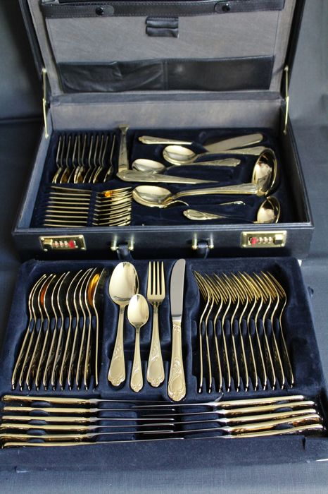 Luxurious 70-piece quality cutlery set by the Nivella company, Solingen - 23/24 karat hard gold plated / 1,000 fine Gold Edition - in high quality leather case - top condition