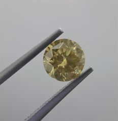 1.23ct Round Cut Diamond Fancy Brownish Greenish Yellow