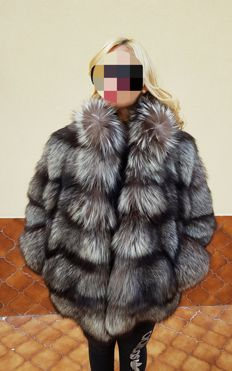 New Genuine Silver Fox Fur Coat