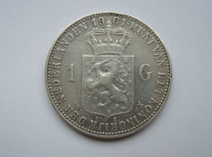 The Netherlands - 1 guilder 1901 Wilhelmina - silver